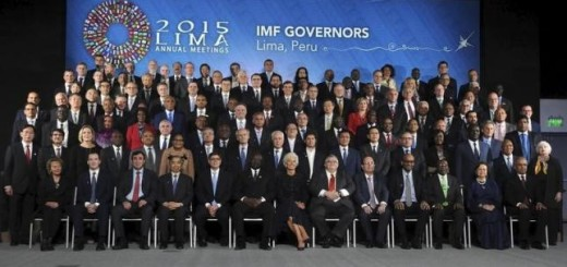 International Monetary Fund governors pose for a family photo during the 2015 IMF/World Bank Annual Meetings plenary session in Lima